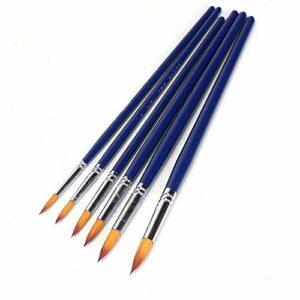 YaGFeng Paintbrushes Peinture Fine Détail Miniature Peinture Brosses Kit 6 PCS Peinture Pinceaux for L'acrylique Aquarelle Visage Ongles Peinture Dessin Ligne Brush Set (Color : Blue, Size : 6 pcs)