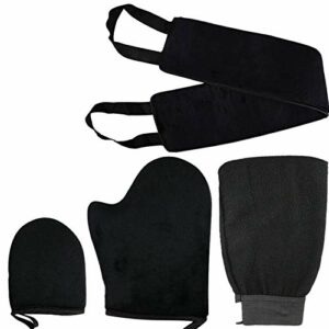 YYMMQQ Serviette de Bain,Gant autobronzant 4 en 1 Ensemble d'applicateur Ceinture pour Votre Dos Gant exfoliant Mini Finger Face Applicateur de Lotion Auto-Bronzant Mitt, Noir