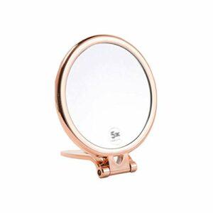 ZKDY Miroir Compact, Double Face Ronde 1X / 3X Loupe Haute définition Portable de Poche en Plastique d'or Miroir de Maquillage Petit Miroir (Color : Gold)