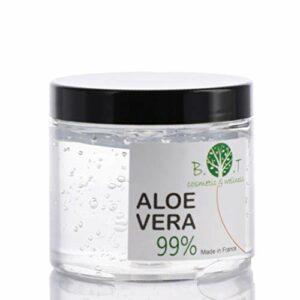 100% Naturel Gel d'Aloe Vera Hydratant Visage Corps Cheveux Après l'épilation Soins des peaux déshydratées Feu du rasage Brulure après un bain de soleil 200 ml