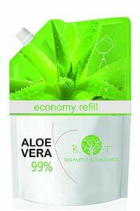 100% Naturel Gel de Aloe Vera Hydratant Visage Corps Cheveux Après l'épilation Soins des peaux déshydratées Feu du rasage Brulure après un bain de soleil Recharge Économique GEL ALOE VERA 99% 500 ml