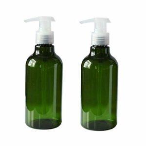 2 PCS 250ML 8.8OZ vide rechargeable en plastique vert presse pompe bouteille avec tête claire lotion shampooing conditionneur jarres conteneur salle de bain spécial produits de bain