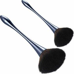 2 Pièces Brosse à Poudre Minérale Large Brosse à Ongles Kabuki Pinceaux de Maquillage Pinceau à Fond de Teint Doux Moelleux Brosse à Blush pour Poudre Libre Blush Bronzant (Bleu)