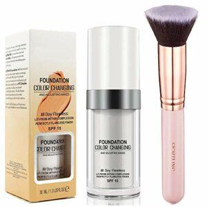 30ml Fondation Fond de teint changeant de couleur Liquid Foundation avec Pinceau Fond de Teint Kabuki pour Maquillage du Visage By SIGHTLING