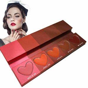 5 couleurs crème fard à joues en forme de coeur Macarons mat fard à joues orange Rouge Réparation de maquillage naturel DiskMakeup