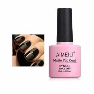 AIMEILI No Wipe Matte Top Coat Mat Vernis Gel Semi-Permanent Vernis à Ongles Manucure Soak Off UV LED Gel Nail Polish 10ML