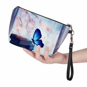Aulaygo Petite trousse de maquillage en cuir avec fermeture éclair pour femmes, enfants, école, voyage, salle de bain, cadeaux – Style papillon