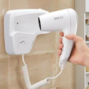 Bakaji Sèche-cheveux mural mural sèche-cheveux Puissance 1100 W Double vitesse sélectionnable Couleur blanche pour maison hôtel