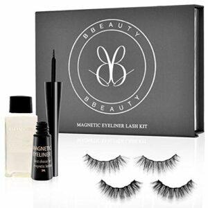 BBeauty®【2 paires】Cils magnétiques avec eyeliner, Eyeliner magnétique (waterproof & séchage rapide) – de cils magnétiques réutilisables, 5 aimants (haute qualité & naturel) Vegan