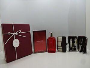 Boîte cadeau de luxe pour homme–Red Hot Man 100ml Eau de toilette pour homme + 7CS en acier inoxydable Soin des ongles personnelles Manucure Kit dans une boîte cadeau. 042.