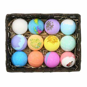 Bombes de bain Bubble Ball Kit Huiles essentielles Sels de bain Soins de la peau Balles de bain douche hydratante exfoliante 12PCS / set, cadeau de jour fait à la main pour les enfants