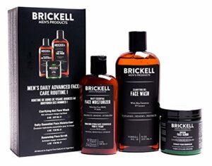 Brickell Men's Products Routine Quotidienne AvancéeSoins Visage I – Gel Nettoyant Visage + Gommage Visage + Crème Hydratante Visage – Naturel et Bio