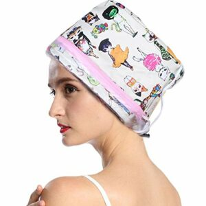 Capuchon de vapeur pour cheveux, électrique 3 vitesses Soin des cheveux Capuchon de vapeur SPA Bonnet chauffant réglable Vapeurs de douche Bonnet cheveux cheveux naturels endommagés Nourrissan(MOI)