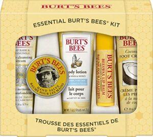 Coffret Cadeau Essentiel Burt's Bees, 5 produits de voyage – Crème nettoyante en profondeur, Baume pour les mains, Lotion pour le corps, Crème pour les pieds et Baume à lèvres