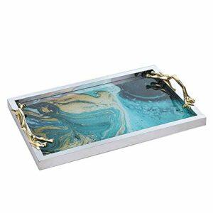Décoratif Plateau décoratif salle de bains Maquillage Vanity cosmétiques Organisateur titulaire de Parfum d'affichage Bijoux Dresser Plateau en verre métal for les bijoux de toilette Cuisine Art de la