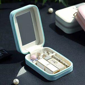 DFGH Seule Petite boîte de Rangement Rouge à lèvres miroirs cosmétiques Femelles Petits Portables avec la Composition lèvre de décharge Report Bijoux en émail (Color : Blue)