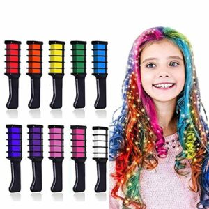 DSGG Cheveux Craie Peignes De Craie,Non-Toxique Temporaire Lavable Stylos,pour Les Cheveux Lavable Brosse à Cheveux Maquillage Stylos à La Craie, 10pcs