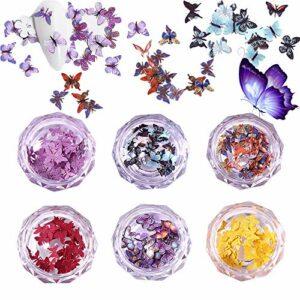 EBANKU 6 Boîtes Paillettes D'ongle Papillon 3D, D'imitation Papillon Styles Multiples Breloques pour les Ongles Papillon à Résine Décor de Cheveux de Visage Nail Art Decoration
