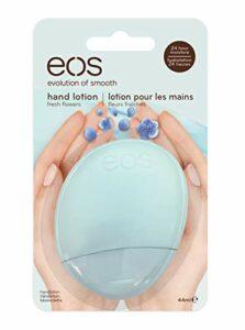 Eos Lotion pour les mains – Fleurs fraîches – crème pour peau normale, hydratant végétalien, soin intensif pour les mains délicates, au beurre de karité, 1 x 44 ml