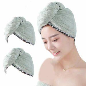 Épais Bordures Molleton Bonnet De Douche, Essuyage Cheveux, Serviette De Bain à Séchage Rapide, Séchage Absorbent Cap avec Design Bouton, Peut Rapidement Cheveux Secs (2 Pièces) (Vert)