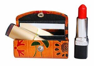 Étui à rouge à lèvres en cuir – Organiseur pour sac à main – Support pour rouge à lèvres – Cuir souple durable – Kit de rangement avec miroir (marron avec motif)