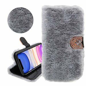 Étui en cuir PU de portefeuille de paillettes de cheveux de lapin pour Huawei P20, YiCTe strass diamant en peluche floue couverture de fourrure[fentes pour cartes][béquille],Gris clair