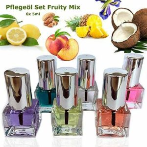 EuBeCos Fruity Mix Lot de 6 flacons d'huile de soin pour les ongles 5 ml Agréable et fruité – Fabriqué en Allemagne