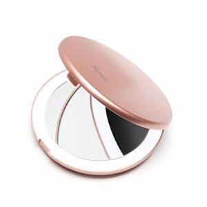 Fancii Petit Miroir de Poche Lumineux LED, Grossissant 1x/ 10x – 10,2 cm Miroir à Main de Maquillage avec Éclairage Naturel pour Voyage, Or Rose (Mini Lumi)