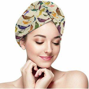 Femmes Fille Arc-en-Perruches Perruques Cheveux Serviette Wraps Ultra Absorbant Séchage Rapide Baignade Capuchon Enveloppé Anti-Frizz Douche Turban De Cheveux