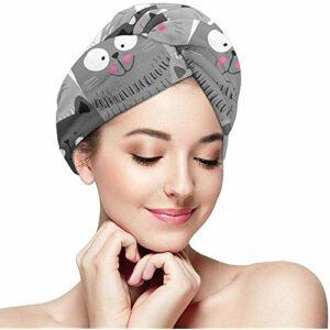 Femmes Fille Gris Chat Cheveux Serviette Wraps Ultra Absorbant Séchage Rapide Baignade Enveloppé Cap Anti-Frizz Douche Cheveux Turban