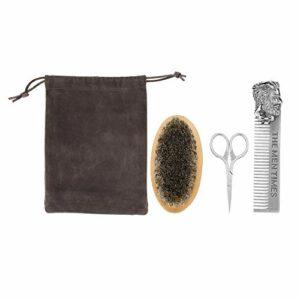 First choice Toilettage à barbe, kit de soin de la barbe de 3 en 1 pour hommes avec peigne en acier inoxydable, brosse à poils de sanglière, ciseaux de taille compacte et sac de rangement, pour mousta