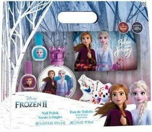 Frozen II Eau de toilette 50 ml, design des ongles et sac : parfum Anna & Elsa dans un beau flacon en verre avec fermeture couronne, vernis à ongles et pochette (50 ml)