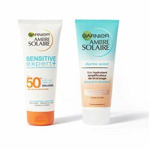 Garnier Ambre Solaire – Coffret Protection Solaire Complète – Lait Protecteur FPS 50+ et Soin Hydratant Après-Soleil – 200 ml