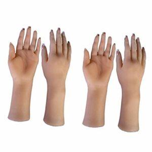Generic 2 Paires Main d'Entraînement Nail Art, Silicone Main Modèle de Pratique à Ongles Professionnel pour Salon de Beauté