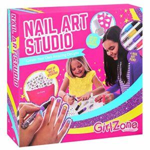 GirlZone Cadeau Nöel Fille – Nail Art Studio – Décoration pour Les Ongles – Maquillage pour Enfants – Coffret Maquillage Enfant – Coffret Nail Art – Loisir Créatif Fille 4 à 11 Ans