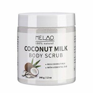 Gommage corporel, Lait de coco, Gommage exfoliant ultra-hydratant et organique, Vergetures, Lissage de la peau pour des soins corporels essentiels nourrissants.