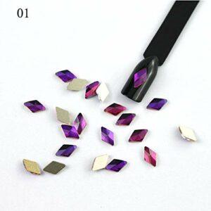 GUANGUA 10 pcs Diamant Strass Ongles 6 * 10 mm Cristal Brillant Ongles décoration diverses Pierres de Fond
