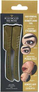Hollywood Browzer Rasoirs avec sac de protection pour la mise en forme des sourcils, l'épilation indésirable et le dermaplaning/exfoliation (paquet de 2) Acier inoxydable allemand Duo Or