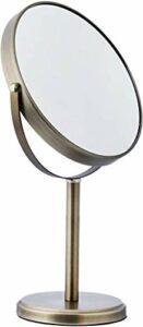 HSC Miroir de Maquillage, Miroir de Bureau, Miroir de courtoisie Haut Double Face, Bronze, étain, Haut