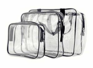 IDS Lot de 3Ensemble de Trousse de toilette en PVC transparent avec fermeture Éclair pour Vacances, DE SALLE DE BAIN, DE Stockage (3tailles)