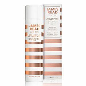 JAMES READ Masque nocturne intensificateur de bronzage pour le corps 200 ml MOYEN/FONCÉ Produit autobronzant progressif pour la nuit, Formule bronzage intense à séchage rapide