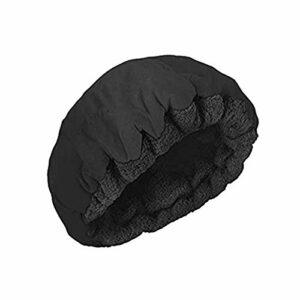 Jfsmgs Bonnets de Douche Conditionnement Profond Chaleur Vapeur Cap Micro-Cheveux Micro-ondable Cap Cheveux Traitement Thermique for Cap Outils coiffants (Color : Black)