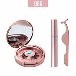 JUZEN Magnetic Eyelashes Eyeliner Magnétique Faux Cils Réutilisables Cils Et Eyeliner Set Outils De Maquillage Professionnel, Noir,006