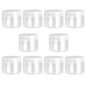 KESYOO 10 Pcs 50 ML Vides Rechargeables en Plastique Transparent Pots avec Couvercles Contenants Ronds pour Le Stockage de Voyage Maquillage Cosmétique Lotion Gommages Crèmes
