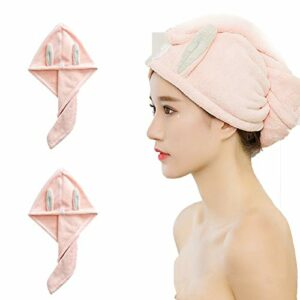 Le Séchage des Cheveux Cap, Lady Absorbent Séchage Rapide Serviette Cheveux, Cartoon Absorbent Serviette, Oreille De Lapin Bonnet De Douche, Super Absorbant, Design Bouton (Deux Paquets) (Rose)