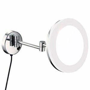 LED Murale Bath Vanity Miroirs, 8″ Simple Face en Laiton grossissant Maquillage Rasage Lighted Pliant avec Switch Electrica (Color : 3X)