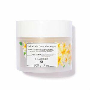 LilaRoze – Gommage Corps Extrait de Fleur d'Oranger Bio 200ml – Gommage à Base de Sucre, Noyaux d'Olives et Huile Amande Douce – Exfoliant Corps