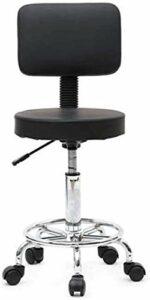 LIZHIQIANGdiaodeng Forme ronde réglable Salon Tabouret 360 degrés de rotation Salon Tabouret Retour Noir for Home Office Manucure Beauté coiffure Massage, 5 Castors