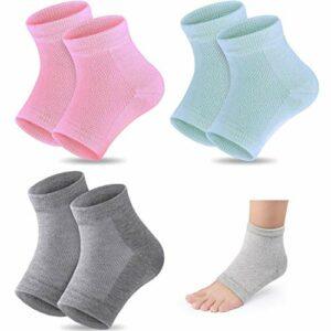 Lot de 2 paires de chaussettes hydratantes à talons en gel pour soulager les douleurs au talon – Confortables et douces – Idéales pour les hommes et les femmes – Soins de jour et de nuit