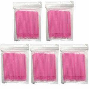 Lot de 500 micro-pinceaux jetables rose applicateur de mascara pour extension de cils, teinture orale, maquillage dentaire et propreté